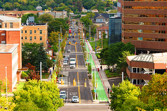 A view of University Avenue, looking down from the Syracuse University Hill