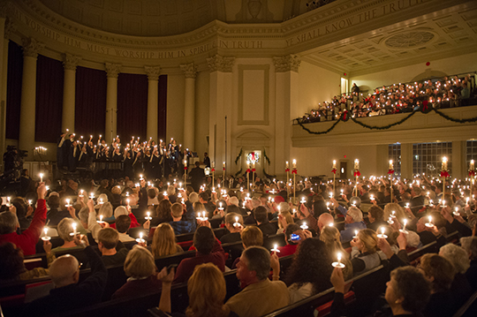 A candle-lit singing of carols is the traditional end of the Holidays at Hendricks program.
