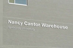 Rendering of the signage placement on The Nancy Cantor Warehouse, facing West Fayette Street