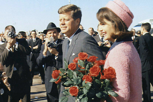 President Kennedy and his wife, Jacqueline, arrive at Love Field in Dallas on Nov. 23, 1963.