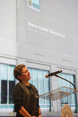 :  Chancellor Nancy Cantor addresses trustees as a building in her honor is officially named.