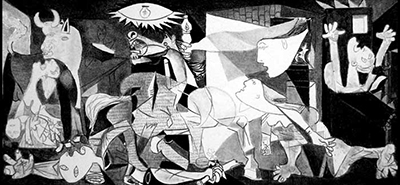 "Picasso's ""Guernica"" expresses the horrors of war. It was inspired by the bombing of a Spanish village during World War II."