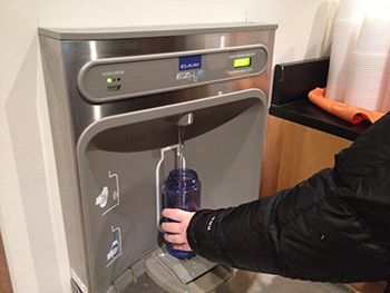 Water bottle refilling stations are popping up around campus.