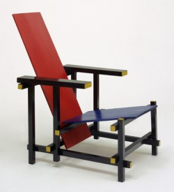 A Rietveld red and blue chair