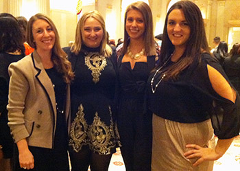 Katelynn Moreau, Michelle Lee, Taylor Cioffi and Jacqueline Soldano, from left, at the YMA FSF Geoffrey Beene National Scholarship Awards Dinner in New York City