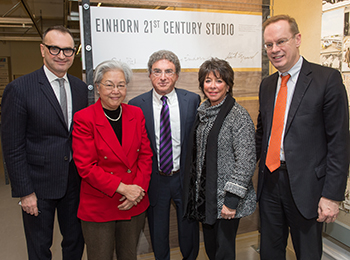 From left: Dean Michael Speaks, Dr. Ruth Chen, Steven Einhorn, Sherry Einhorn and Chancellor Kent Syverud at the launch of the Einhorn 21st Century Studio