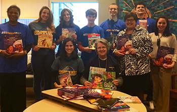 SU Golden Key members donated books to the Golisano Children's Hospital.
