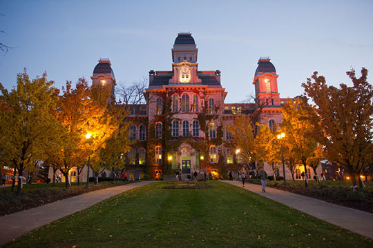 The Hall of Languages will be lit up in red Friday evening as part of the campus' Orange Goes Red for the American Heart Association campaign.