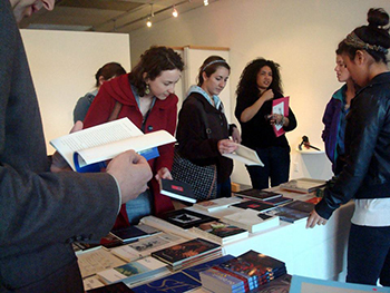 Customers browse at the Poetry Book Fair in 2012.