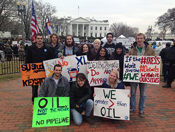 Twelve members of Students of Sustainability gathered in Washington DC in February for one of the largest student-led protests against the Keystone XL Pipeline project.