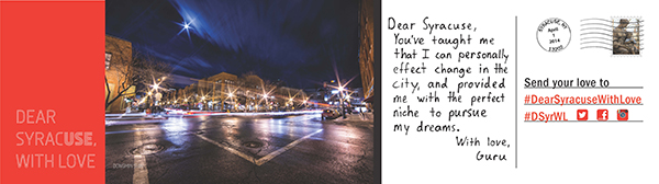 The upcoming April Dear Syracuse billboard, featuring a quote from Michael Rotella '11.