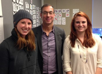 Paul Leibowitz '84 with award winners Ali Martini '14, left, and Sadie St. Germain '14.
