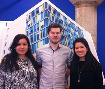 Fletchall with second-year industrial design students Karina Campos and Tiffany Soohoo, winners of a recent Connective Corridor design competition for interactive public art.