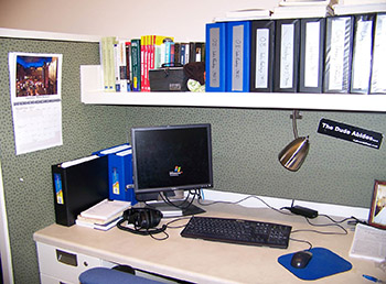 Sometimes the way a workspace is personalized, such as by being very organized, can be a clue to the occupant's role in the organization.