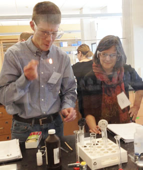 "Teachers from 24 area high schools learned about the benefits of sustainable science during the ""green chemistry"" workshop."