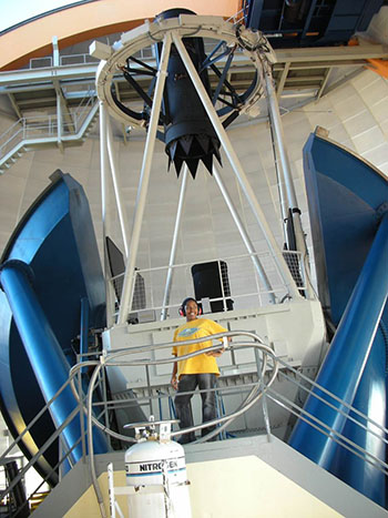 Jedidah Isler at the Small and Medium Aperture Research Telescope System (SMARTS) in Cerro Tololo, Chile, in 2006, while she was a graduate student at Fisk University.