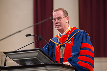 Chancellor Kent Syverud addresses the audience inside Hendricks Chapel during the inauguration ceremony Friday.