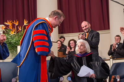 Chancellor Syverud thanks U.S. Supreme Court Justice (retired) Sandra Day O'Connor for her reflections during the inauguration ceremony Friday in Hendricks Chapel. Chancellor Syverud served as a law clerk for Justice O'Connor in 1984.
