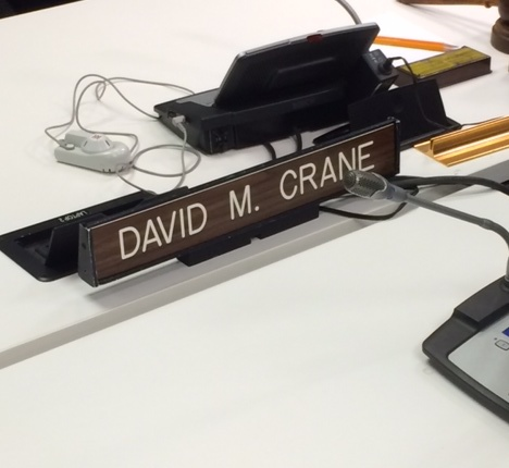 Professor David Crane took this photo of his name plate at the United Nations in New York City.