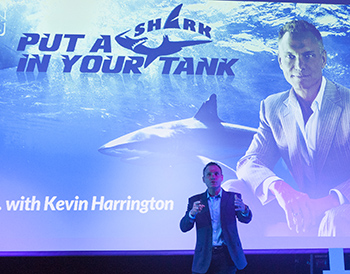Shark Tank's Kevin Harrington gives a keynote address on the first evening of the Emerging Talk conference.