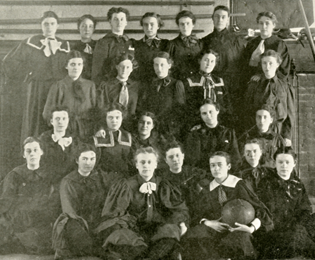 The Syracuse University Women's Basketball Association, 1898. These women essentially represent SU's first women's basketball team.