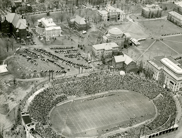 An aerial view of the Syracuse University campus, as it looked in the 1930s. Crouse College can be seen in the upper right; Hendricks Chapel, center right; and Archbold Stadium, lower right.