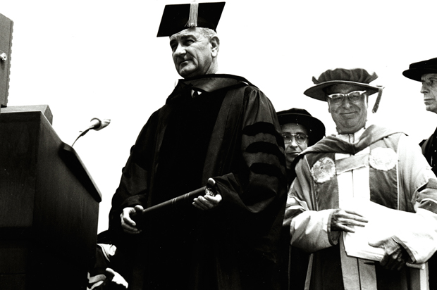 President Lyndon Johnson with Chancellor William Tolley at the dedication of Newhouse 1 on August 5, 1964.