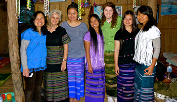 Darcy Cherlin, in green, with Karen women