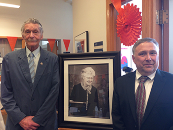 Sanford Sternlicht, left, and Stephen Kuusisto, director of the honors program, both have fond memories of Mary Marshall