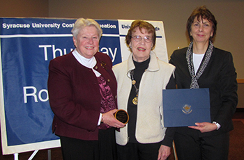 Pictured Left to Right are: Carol Dwyer, long-time TMR member, Margaret Charters, and Sandra Barrett, director of Community Programs at University College.