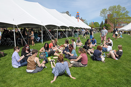 Seniors relax on the Quad during the 2013 Senior Barbecue.