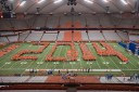 Members of the current graduating class form the year of their graduation in the Carrier Dome during orientation in their freshman year.