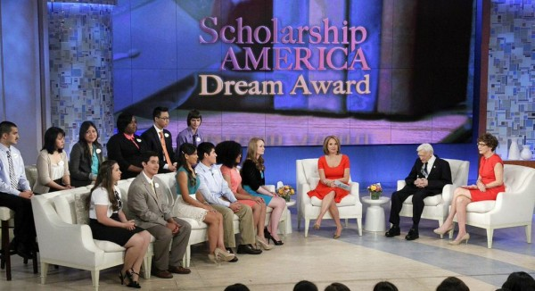 Charlene Hinton '15 was among a dozen finalists for the Dream Award Scholarship, presented by Scholarship America and TV talk show host Katie Couric.  LtoR: (first row) Janelle Wiser, Luis Loza, Emelin Garcia Nieto, Hector Najarro, Charlene Hinton, Sarah Ashcraft (back row) Rodrigo Telles, Lucy Tang, Mirrella Bautista, Shelby Wilson, Takashi Yanagi, Ryan Bosela.