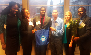 Founding members of the Syracuse University chapter of the ACM. From left to right:  Fatma NGom, Hope Wilcox, Joshua Collins, Jesus Manuel Ortiz, Christa Farmen and David Mwanzia.