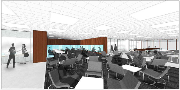 An artist's rendering of the new classroom in Bird Library