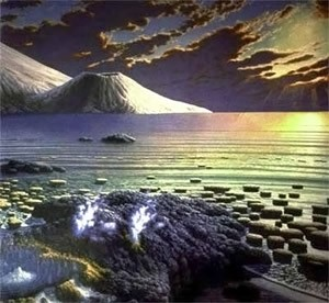 Earth's landscape, as it may have looked more than 2.5 billion years ago. (From a painting by Peter Sawyer, The Smithsonian Institute)