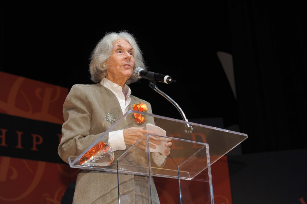 Karen DeCrow L'72 speaks at the 2009 Arents Award ceremony, where she was an award recipient.