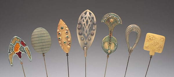 "Celluloid hairpins are part of the exhibition ""Shaping a Celluloid World"" at the Palitz Gallery at Lubin House in New York City."