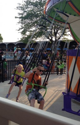 Gavin and Kayla Monaghan, children of Malissa Monaghan, staff member in the Falk College, at Seabreeze in Rochester.