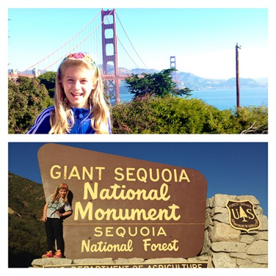 Catherine, daughter of Associate Provost Andria Costello Staniec, on a whirlwind trip through California.