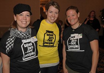 "Former Disabilities Studies students wear the Center on Human Policy's popular ""Label Jars Not People"" t-shirts; the graphic has been used by disability advocates worldwide for over 30 years."