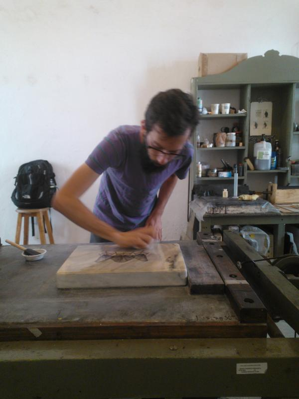 Graduate student Brent Erickson works on a piece as part of an artist's residency program in Puebla, Mexico.