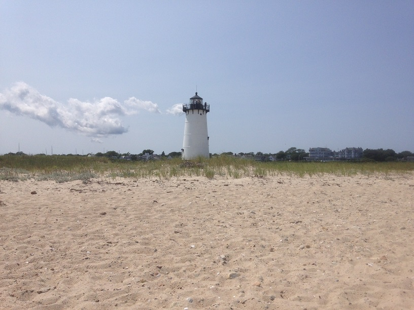 Summer clouds float by Lighthouse Beach in Edgartown, Martha's Vineyard, in a shot shared by Erin Kane, associate vice president for public relations.