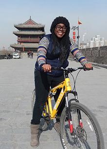 Regina King biking in Xi'an, China