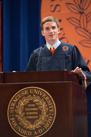 Stephen Barton '12 speaks at the Convocation for New Students.