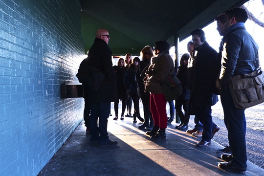 School of Architecture design students visit the existing structure at Skiddy Park.