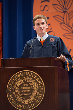 Stephen Barton speaks at the Convocation for New Students on Aug. 22.