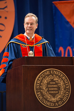 Chancellor Kent Syverud speaks at the New Student Convocation on Friday, Aug. 22.