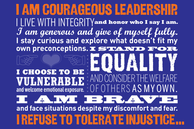 A portion of the Creed for Courageous Leadership