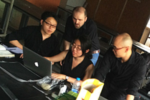 Students in the Nanjing program, from left: Qidi Jiang, Aalto University, Finland; Xue Yang, SU School of Architecture; Nathan Taylor, Nanjing University School of Architecture; and Guanhao Huang, SU College of Engineering and Computer Science.